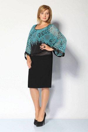 Платье Платье IVA 1531 черный  Рост: 164 см.  Нарядно-повседневное платье с цельнокроенными рукавами, отрезное чуть ниже от линии талии. Низ платья (юбка) заужена. Верх платья состоит из трикотажного