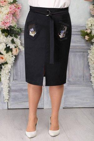 Юбка Юбка Ninele 5768 черный  Сезон: Весна Рост: 164  Стильная, зауженная к низу юбка дополнена удобным притачным поясом. К нему пришит более узкий декоративный поясок, который симпатично завязываетс