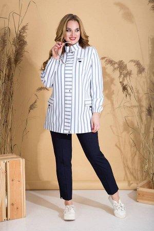 Костюм Костюм Liliana 821В  Состав ткани:Куртка: Вискоза-45%; Спандекс-5%; Лён-50%;  Рост: 164 см.  Супер стильная парка-ветровка, выполнена из льняной ткани в полоску. Модель с воротником стойкой; с
