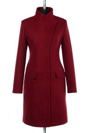 01-9731 Пальто женское демисезонное валяная шерсть Красно-коричневый