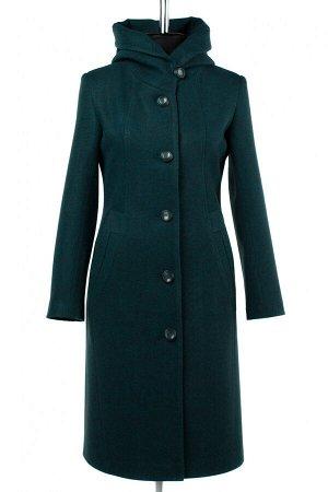 01-9219 Пальто женское демисезонное валяная шерсть Изумруд