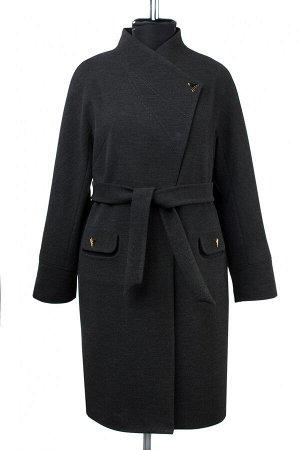 01-09197 Пальто женское демисезонное (пояс) Пальтовая ткань темно-серый