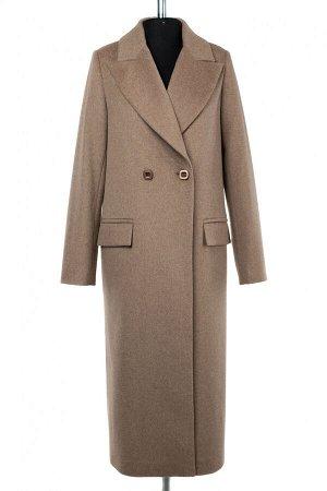01-9503 Пальто женское демисезонное Микроворса светло-коричневый