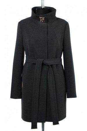 01-09188 Пальто женское демисезонное (пояс) Пальтовая ткань темно-серый