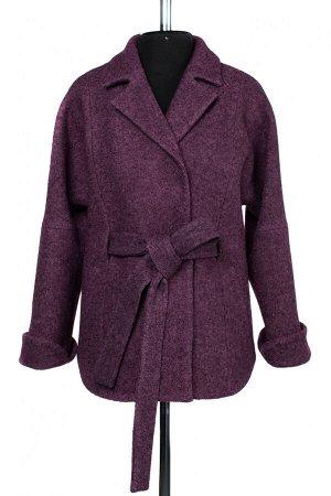 01-9452 Пальто женское демисезонное (пояс) вареная шерсть Сиренево-коричневый