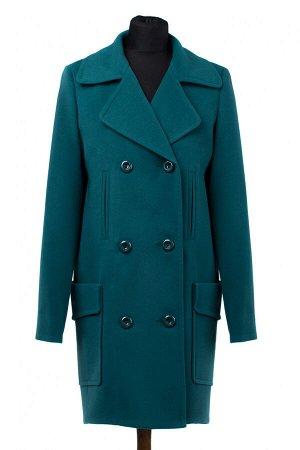 01-9166 Пальто женское демисезонное Кашемир Изумруд