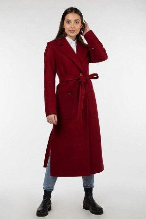 01-9405 Пальто женское демисезонное (пояс) валяная шерсть Красно-коричневый