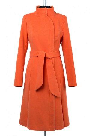 01-09165 Пальто женское демисезонное (пояс) Кашемир Ярко-оранжевый