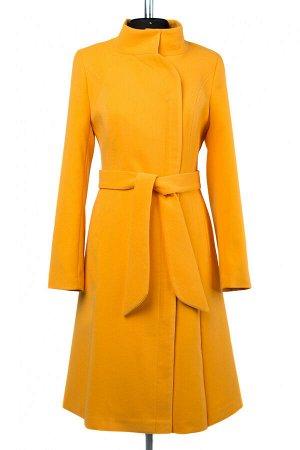 01-09163 Пальто женское демисезонное Кашемир желтый