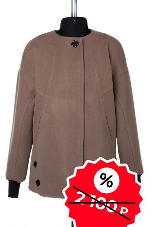 01-08991 Пальто женское демисезонное SALE Пальтовая ткань кофе