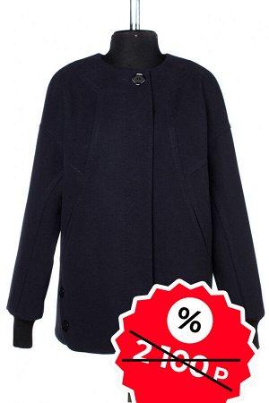 01-08985 Пальто женское демисезонное Пальтовая ткань темно-синий