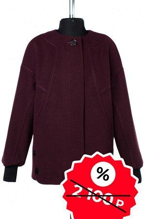 01-08974 Пальто женское демисезонное Пальтовая ткань гранат