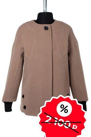01-08973 Пальто женское демисезонное SALE Пальтовая ткань темно-бежевый