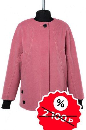 01-08966 Пальто женское демисезонное SALE Пальтовая ткань темно-розовый