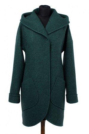 01-9358 Пальто женское демисезонное вареная шерсть Изумруд меланж
