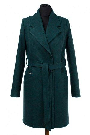 01-9054 Пальто женское демисезонное (пояс) валяная шерсть Изумруд меланж