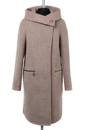 01-9541 Пальто женское демисезонное Микроворса бело-коричневый