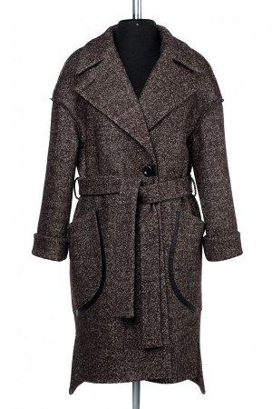01-9408 Пальто женское демисезонное (пояс) вареная шерсть Коричневый меланж