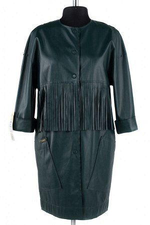 12-0090 Пальто облегченное Эко-кожа темно-зеленый