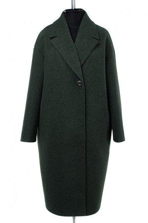 01-09472 Пальто женское демисезонное валяная шерсть темно-зеленый