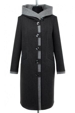 01-09468 Пальто женское демисезонное валяная шерсть темно-серый