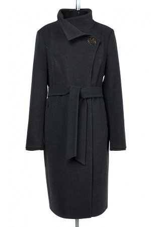 01-09278 Пальто женское демисезонное (пояс) Пальтовая ткань темно-серый