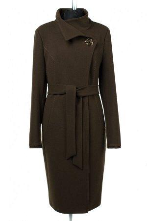 01-09283 Пальто женское демисезонное (пояс) Пальтовая ткань хаки