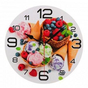 """Часы настенные круглые """"Мороженое и ягоды"""", 24 см  микс"""