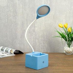 Лампа настольная сенсорная 85303/1 18хLED 3Вт диммер USB AKB синий 10х10,5х43 см