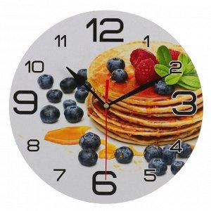 """Часы настенные, серия: Кухня, """"Панкейк с черникой"""", 24 см"""