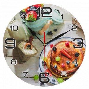 """Часы настенные, серия: Кухня, """"Панкейк с ягодами"""", 24 см"""