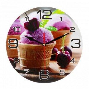 """Часы настенные круглые """"Мороженое и черешня"""", 24 см микс"""