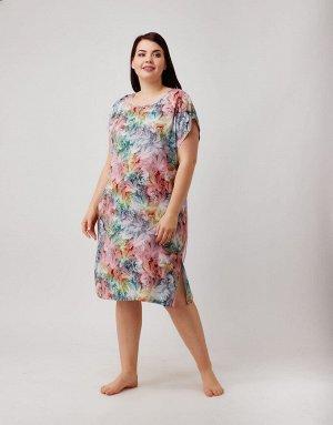 Платье Легкое разноцветное платье с поясом  Состав: 95% вискоза, 5% эластан