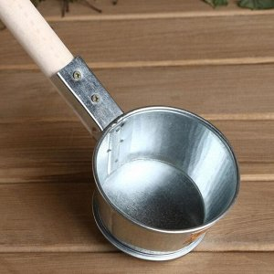 Ковш для бани из оцинкованной стали, 0.35л, 60 см, с деревянной ручкой