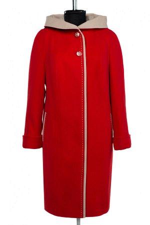02-2868 Пальто женское утепленное SALE Кашемир красный