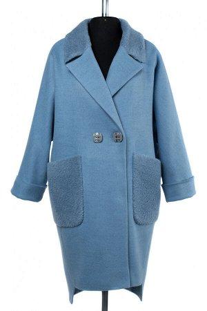 02-2505 Пальто женское утепленное валяная шерсть голубой