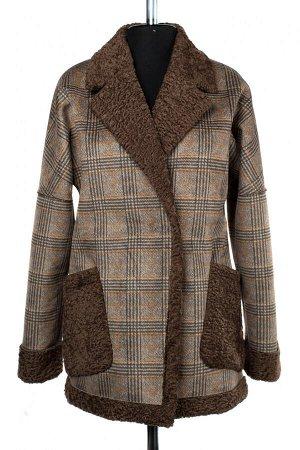 02-2467 Пальто женское утепленное Эко-дубленка коричневый
