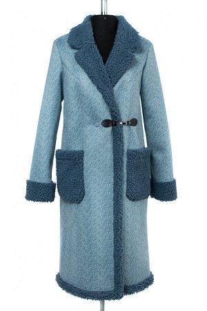 02-2503 Пальто женское утепленное Эко-дубленка голубой