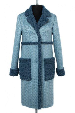 02-2501 Пальто женское утепленное Эко-дубленка голубой