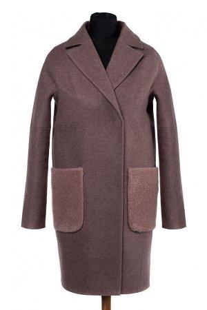 02-2500 Пальто женское утепленное валяная шерсть Розово-коричневый