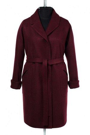 02-2857 Пальто женское утепленное (пояс) валяная шерсть бордовый
