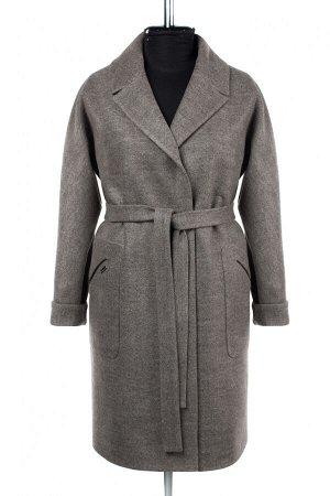 02-2858 Пальто женское утепленное ( пояс) валяная шерсть Бежево-серый