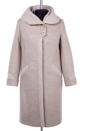 02-2721 Пальто женское утепленное валяная шерсть/трикотаж бежевый