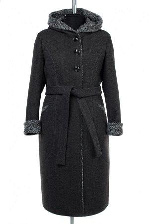 02-2855 Пальто женское утепленное (пояс) валяная шерсть темно-серый