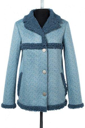 02-2707 Пальто женское утепленное Эко-дубленка голубой