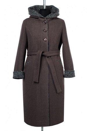 02-2856 Пальто женское утепленное (пояс) валяная шерсть шоколад