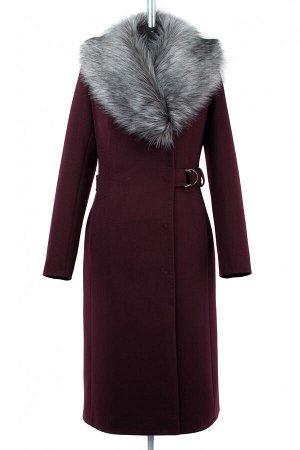 02-2663 Пальто женское утепленное Пальтовая ткань гранат