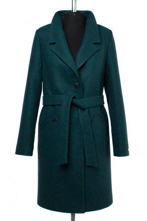 02-2485 Пальто женское утепленное (пояс) валяная шерсть Изумруд меланж