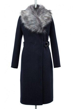 02-2579 Пальто женское утепленное Пальтовая ткань темно-синий