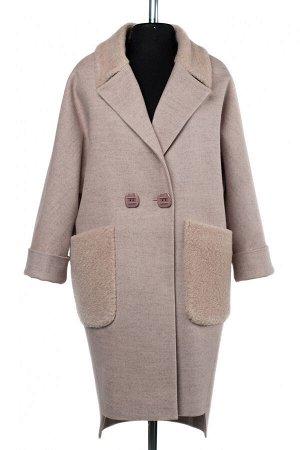 02-2555 Пальто женское утепленное валяная шерсть чайная роза